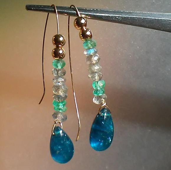 94af579a0 Jewelry | Labradorite Emerald Kyanite Earrings 14kt Gold | Poshmark